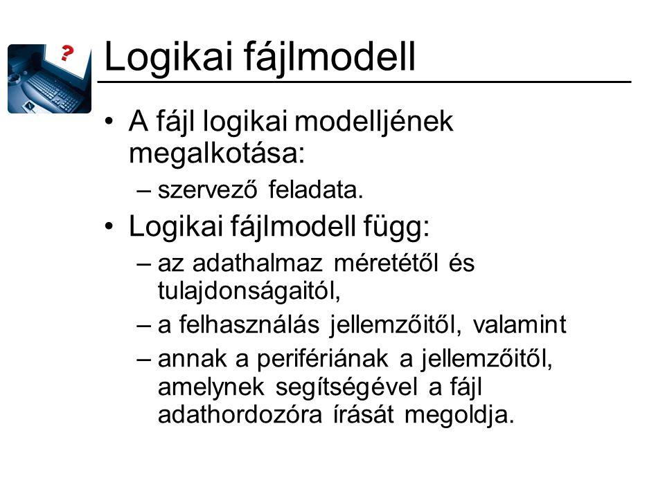 Logikai fájlmodell A fájl logikai modelljének megalkotása: