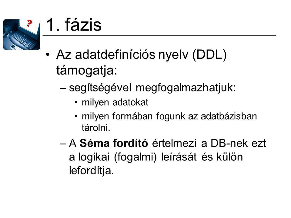 1. fázis Az adatdefiníciós nyelv (DDL) támogatja: