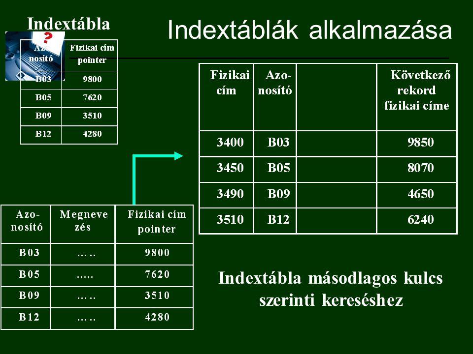 Indextáblák alkalmazása