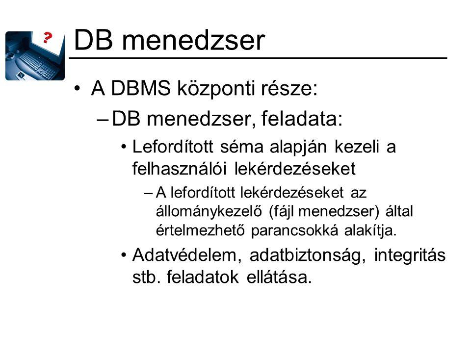DB menedzser A DBMS központi része: DB menedzser, feladata: