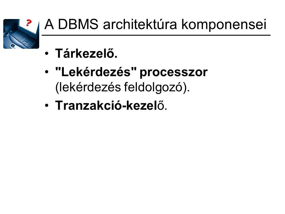 A DBMS architektúra komponensei