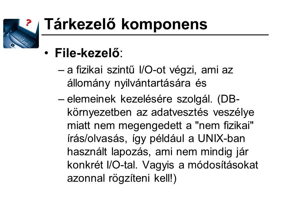 Tárkezelő komponens File-kezelő: