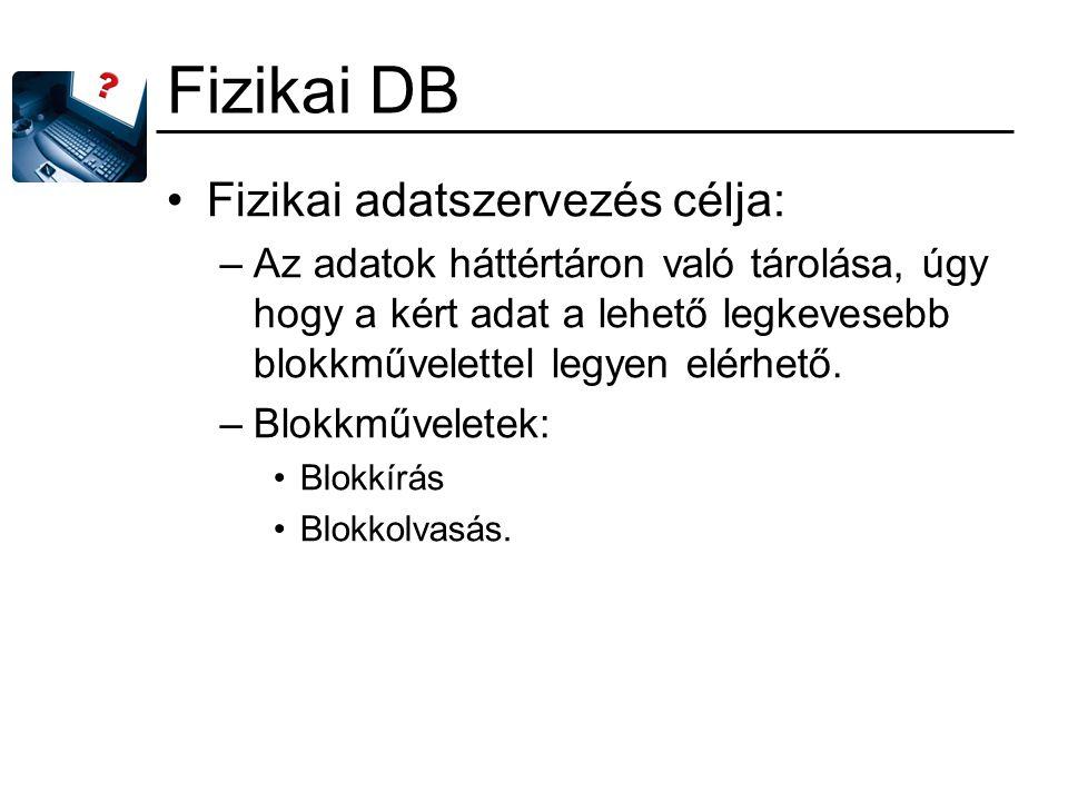 Fizikai DB Fizikai adatszervezés célja: