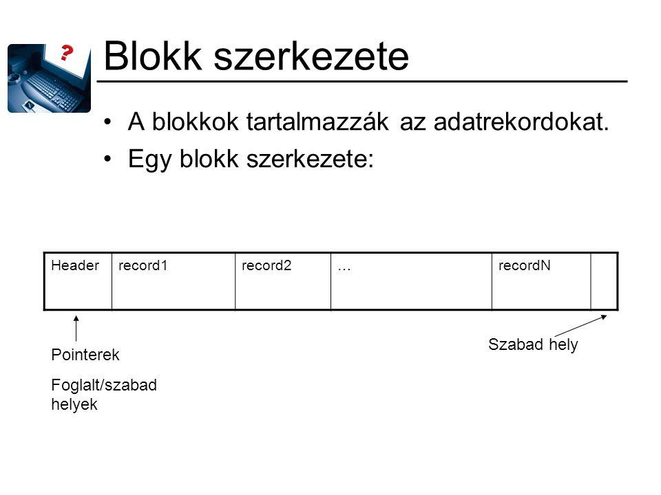 Blokk szerkezete A blokkok tartalmazzák az adatrekordokat.