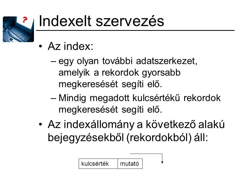 Indexelt szervezés Az index: