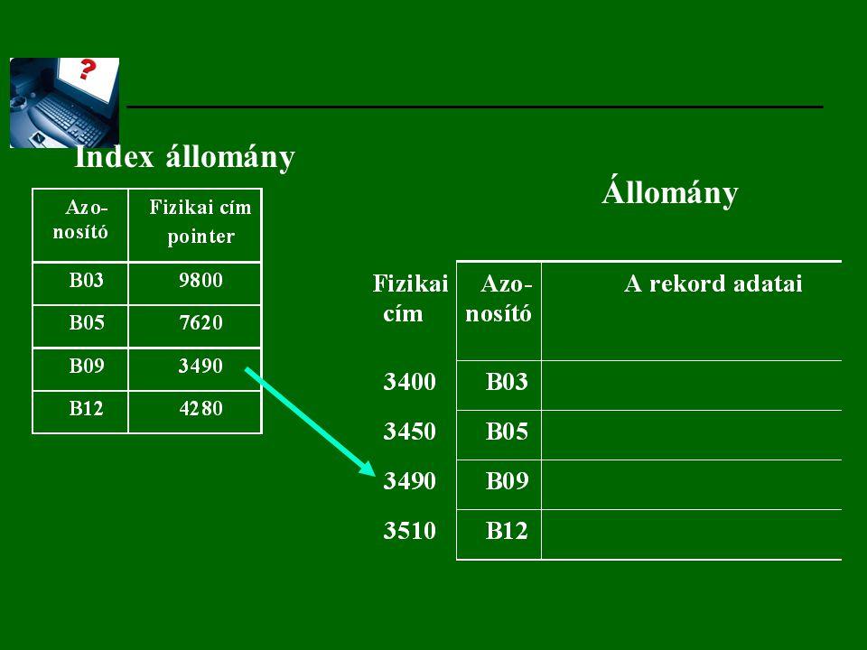 Index állomány Állomány