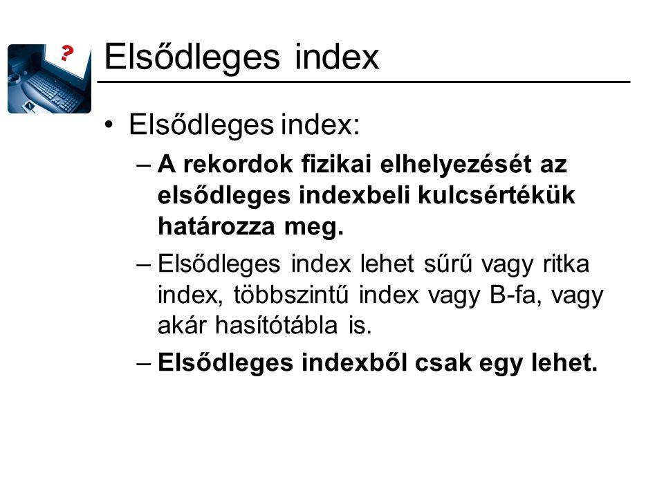 Elsődleges index Elsődleges index:
