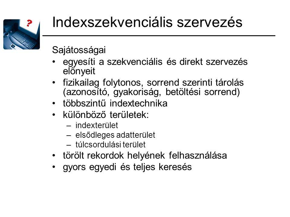 Indexszekvenciális szervezés