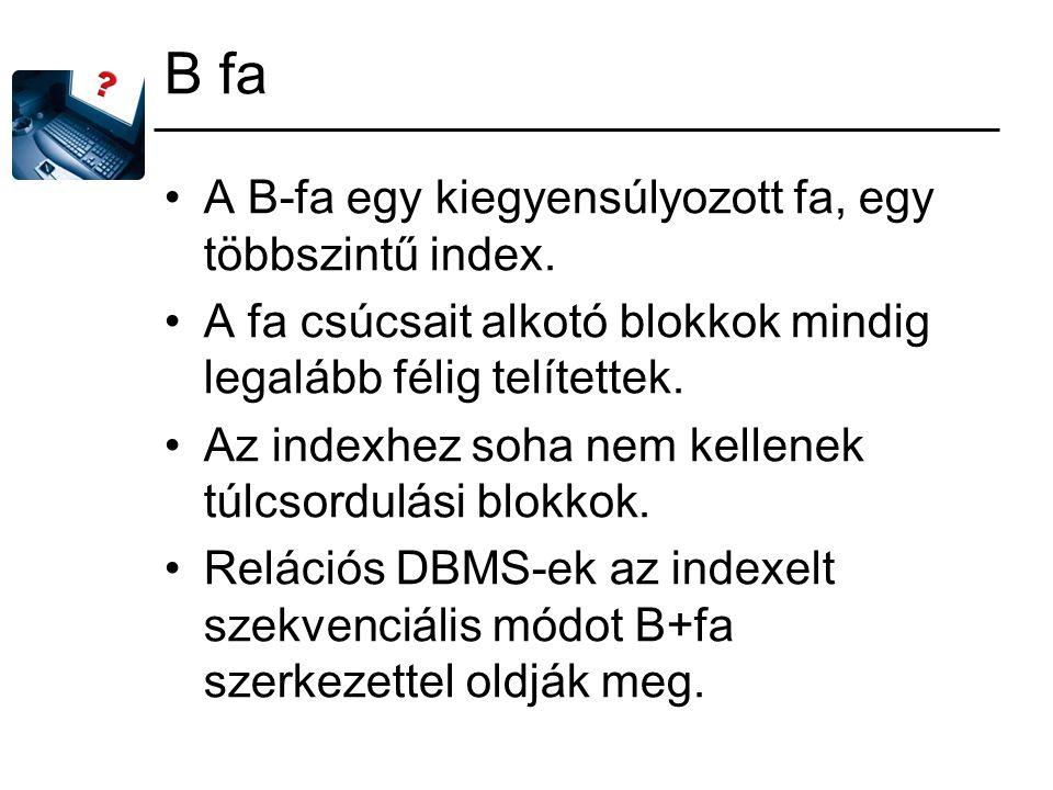 B fa A B-fa egy kiegyensúlyozott fa, egy többszintű index.