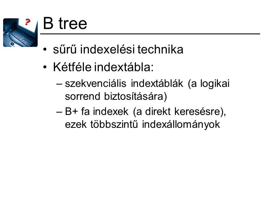 B tree sűrű indexelési technika Kétféle indextábla: