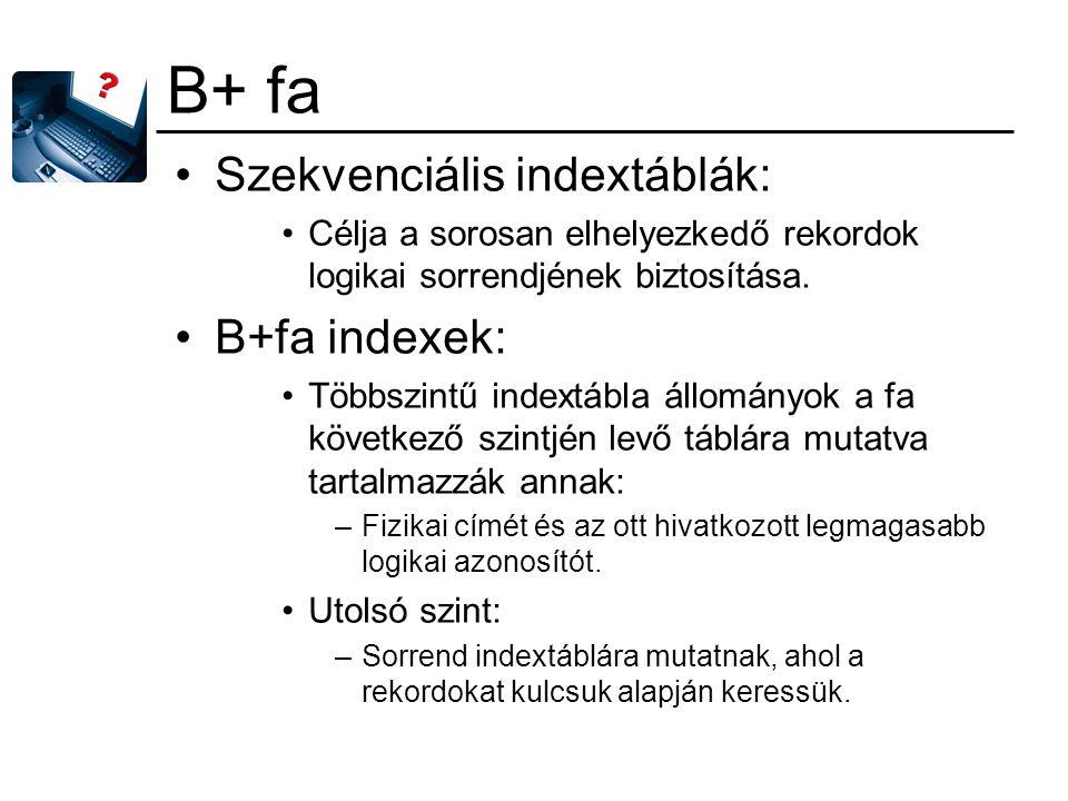 B+ fa Szekvenciális indextáblák: B+fa indexek: