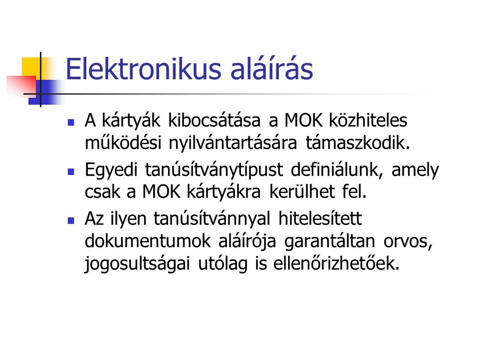 Elektronikus aláírás A kártyák kibocsátása a MOK közhiteles működési nyilvántartására támaszkodik.