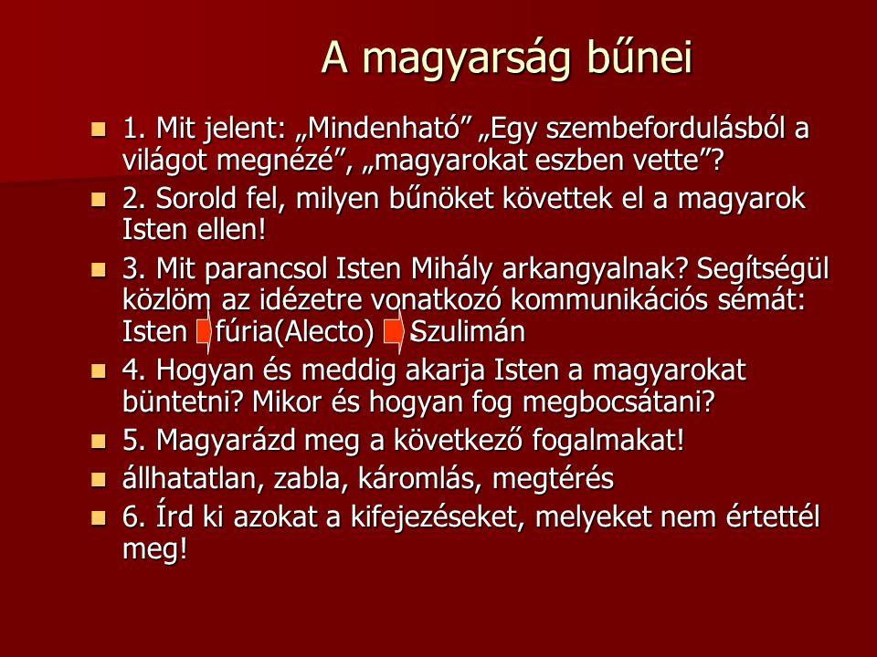 """A magyarság bűnei 1. Mit jelent: """"Mindenható """"Egy szembefordulásból a világot megnézé , """"magyarokat eszben vette"""