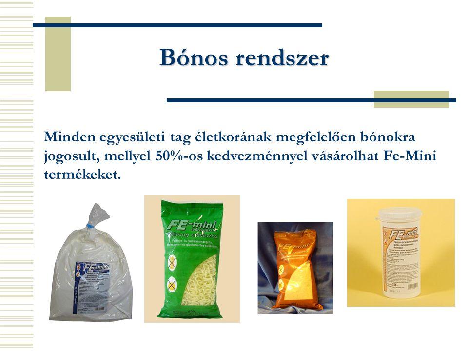 Bónos rendszer Minden egyesületi tag életkorának megfelelően bónokra jogosult, mellyel 50%-os kedvezménnyel vásárolhat Fe-Mini termékeket.