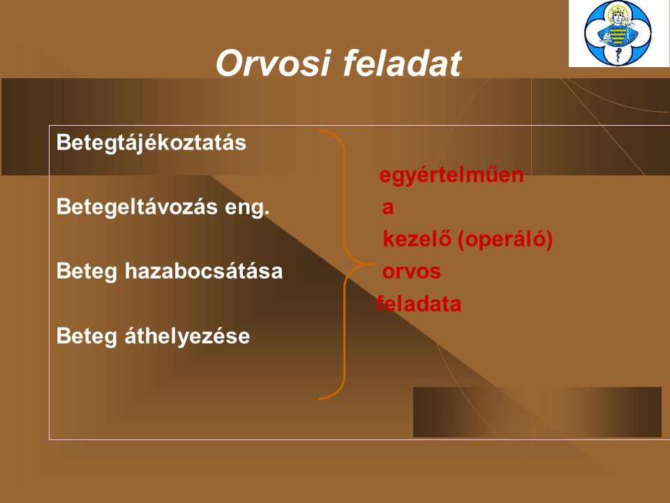 Orvosi feladat Betegtájékoztatás egyértelműen Betegeltávozás eng. a