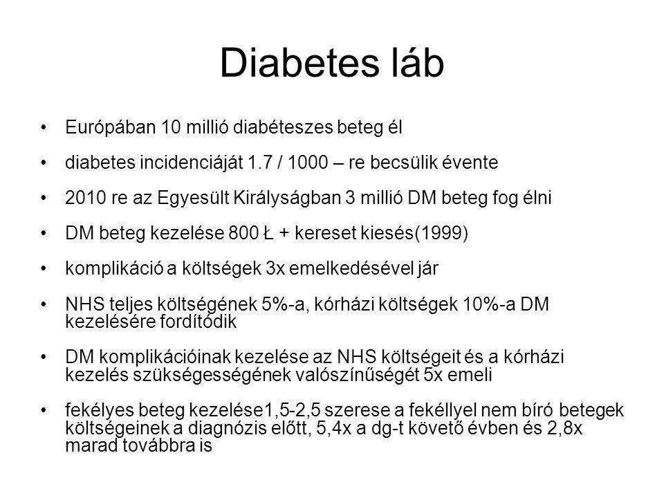 Diabetes láb Európában 10 millió diabéteszes beteg él
