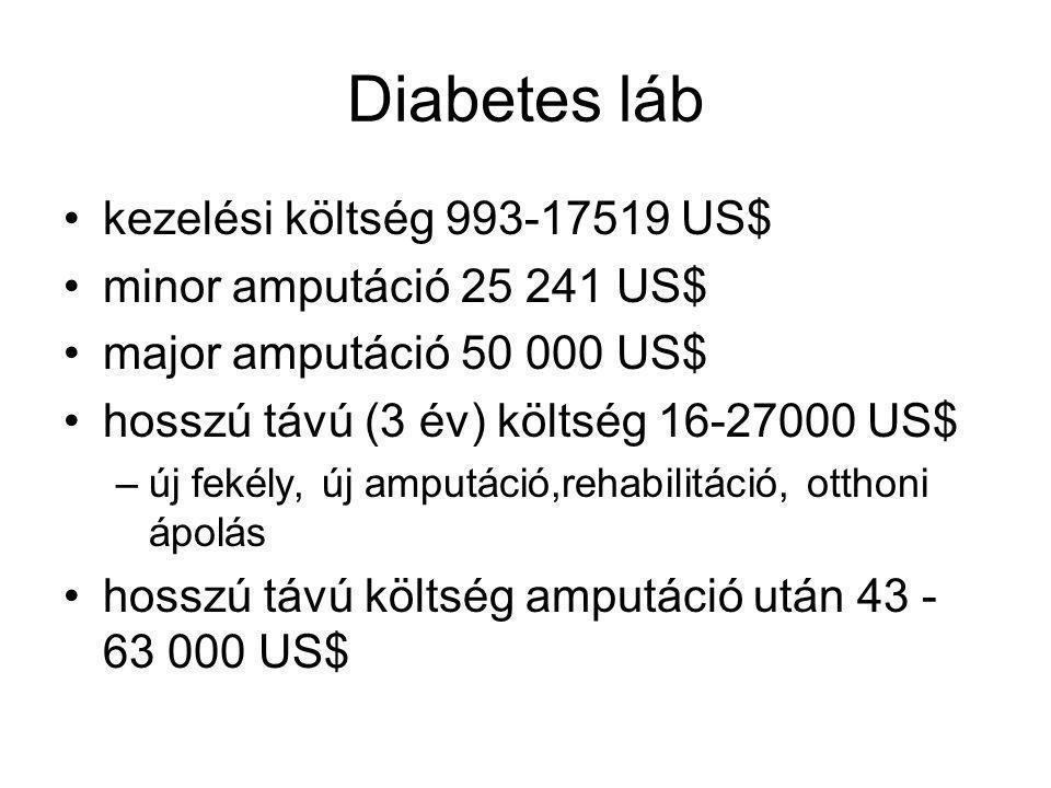 Diabetes láb kezelési költség 993-17519 US$ minor amputáció 25 241 US$
