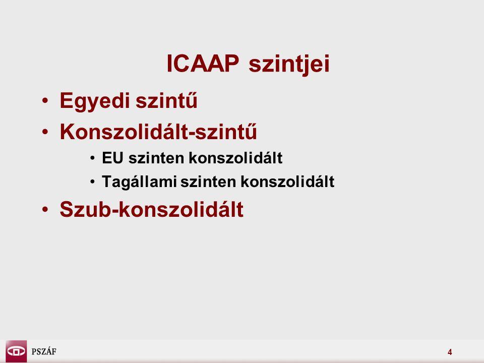 ICAAP szintjei Egyedi szintű Konszolidált-szintű Szub-konszolidált