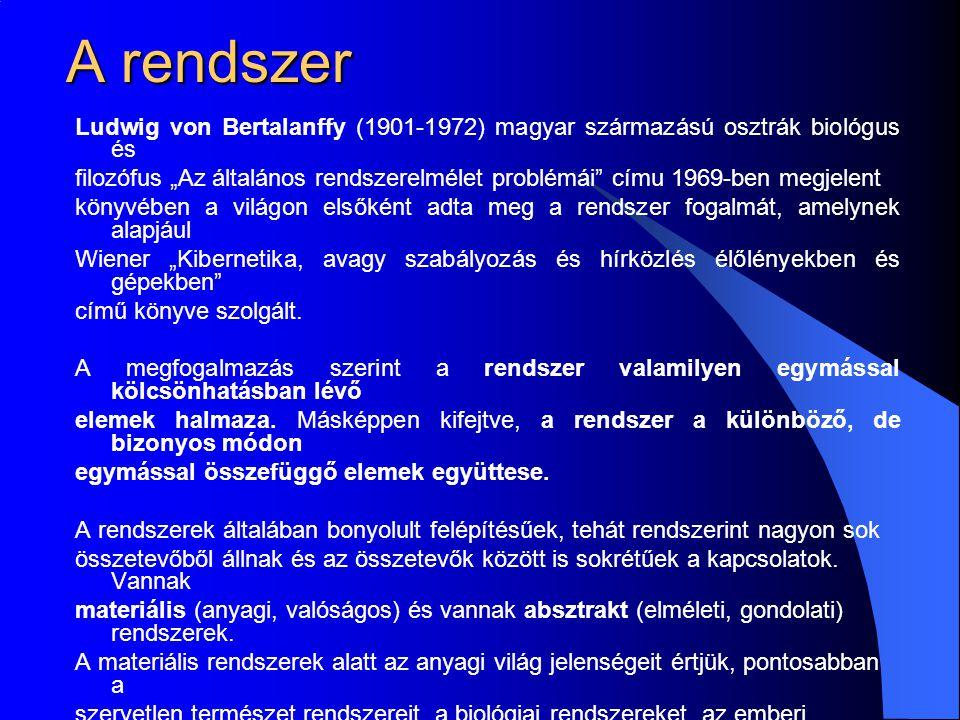 A rendszer Ludwig von Bertalanffy (1901-1972) magyar származású osztrák biológus és.