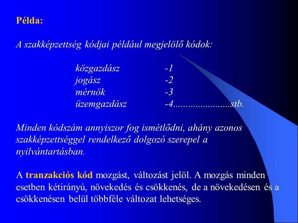 Példa: A szakképzettség kódjai például megjelölő kódok: közgazdász -1. jogász -2. mérnök -3.