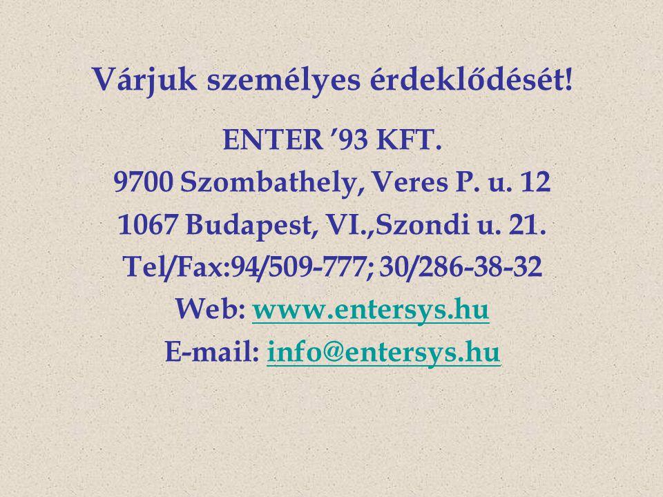 Várjuk személyes érdeklődését! E-mail: info@entersys.hu