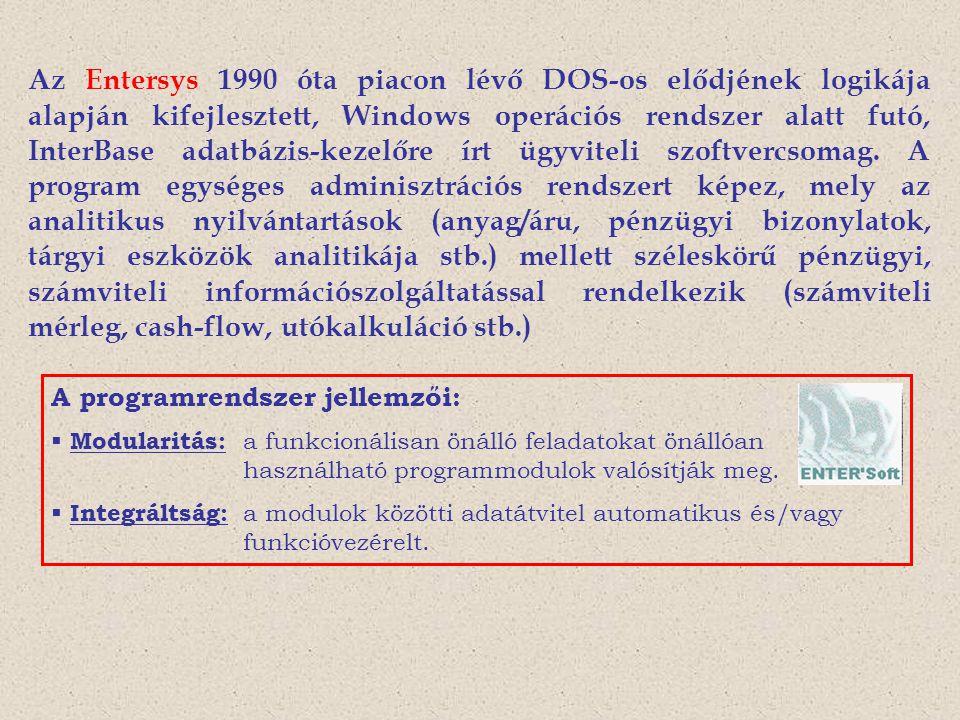 Az Entersys 1990 óta piacon lévő DOS-os elődjének logikája alapján kifejlesztett, Windows operációs rendszer alatt futó, InterBase adatbázis-kezelőre írt ügyviteli szoftvercsomag. A program egységes adminisztrációs rendszert képez, mely az analitikus nyilvántartások (anyag/áru, pénzügyi bizonylatok, tárgyi eszközök analitikája stb.) mellett széleskörű pénzügyi, számviteli információszolgáltatással rendelkezik (számviteli mérleg, cash-flow, utókalkuláció stb.)