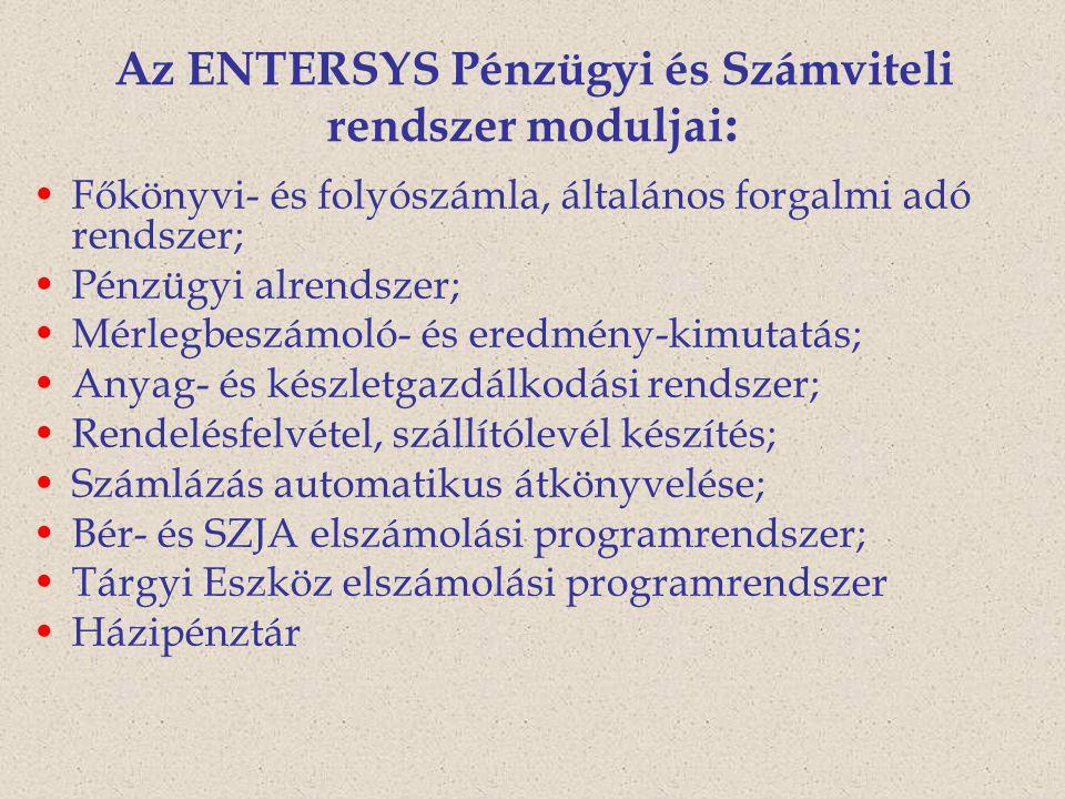 Az ENTERSYS Pénzügyi és Számviteli rendszer moduljai: