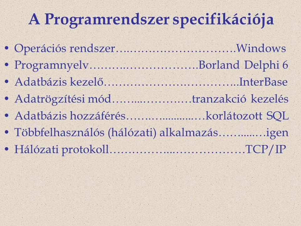A Programrendszer specifikációja