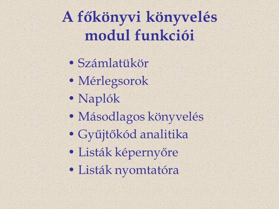 A főkönyvi könyvelés modul funkciói