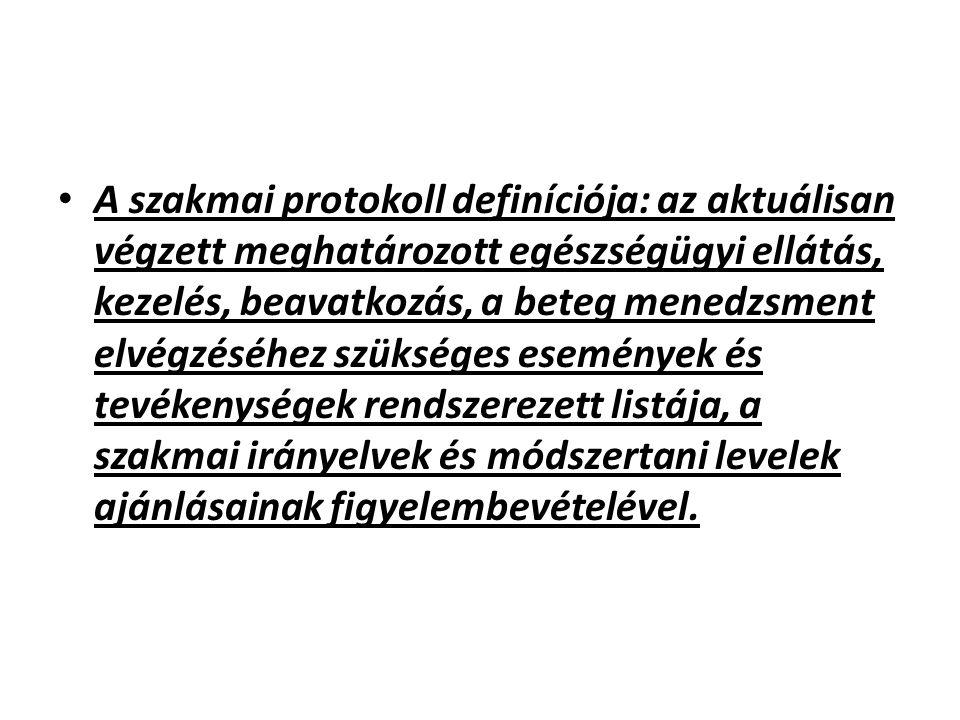 A szakmai protokoll definíciója: az aktuálisan végzett meghatározott egészségügyi ellátás, kezelés, beavatkozás, a beteg menedzsment elvégzéséhez szükséges események és tevékenységek rendszerezett listája, a szakmai irányelvek és módszertani levelek ajánlásainak figyelembevételével.