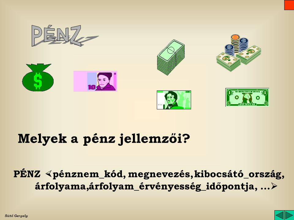 PÉNZ Melyek a pénz jellemzői PÉNZ pénznem_kód, megnevezés,