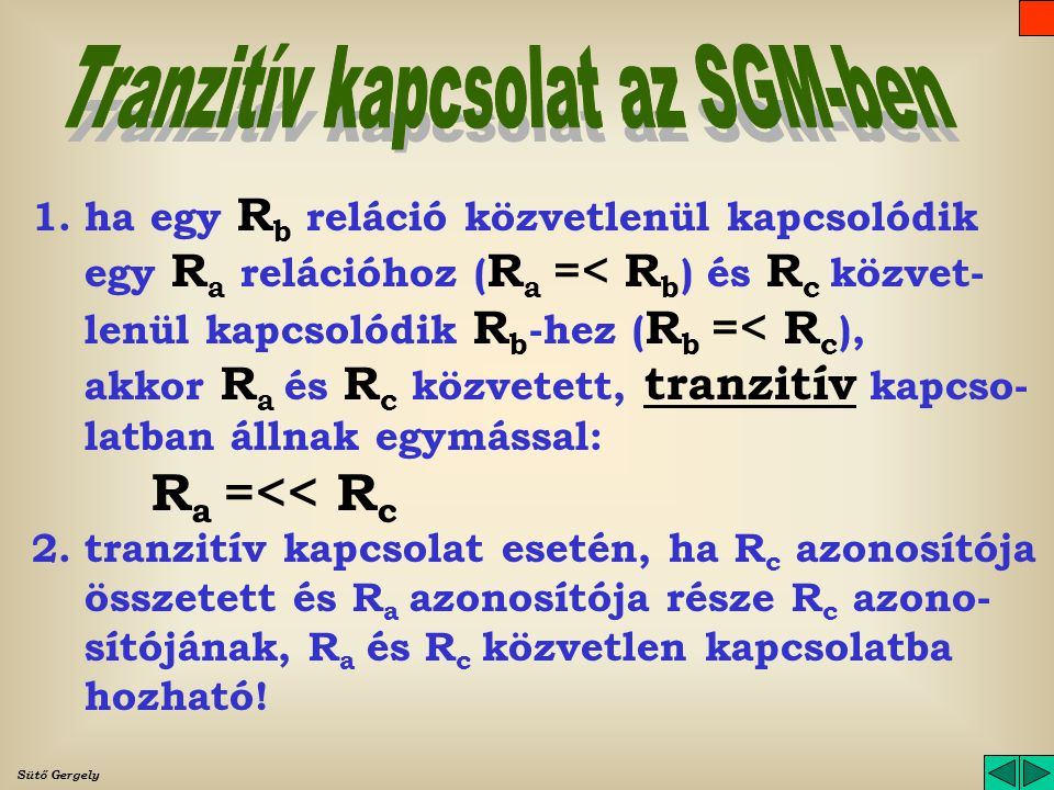 Tranzitív kapcsolat az SGM-ben