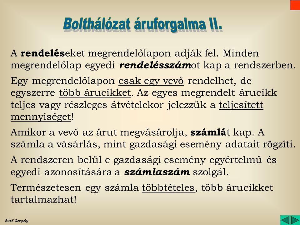 Bolthálózat áruforgalma II.