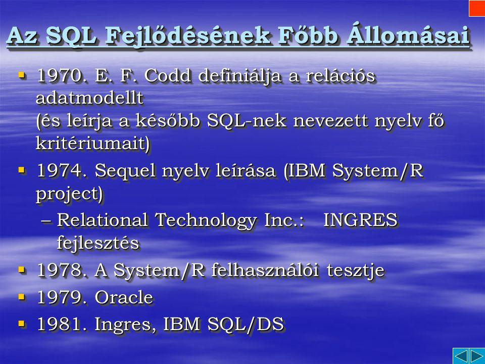 Az SQL Fejlődésének Főbb Állomásai
