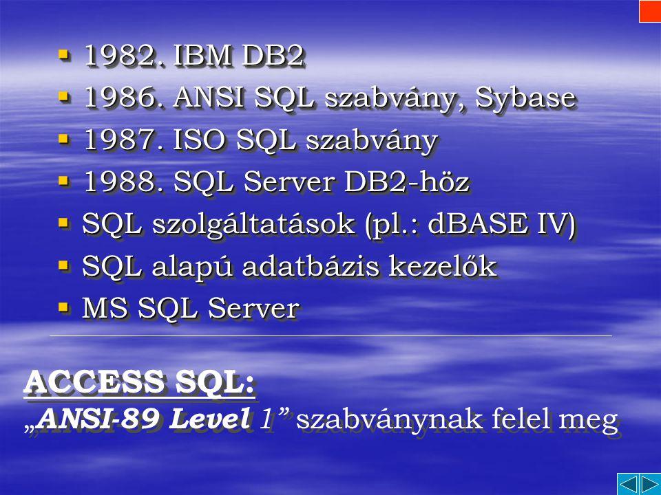 ACCESS SQL: 1982. IBM DB2 1986. ANSI SQL szabvány, Sybase