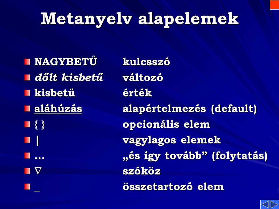 Metanyelv alapelemek NAGYBETŰ kulcsszó dőlt kisbetű változó