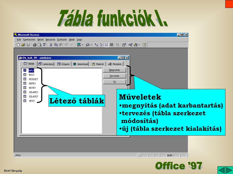 Tábla funkciók I. Office 97 Műveletek Létező táblák