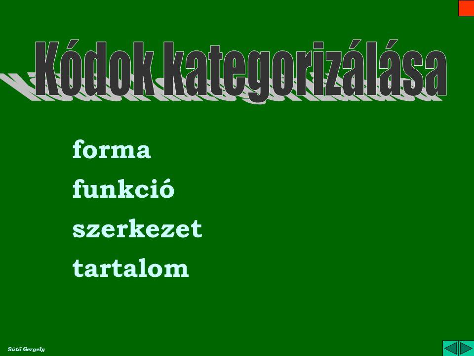 Kódok kategorizálása forma funkció szerkezet tartalom Sütő Gergely