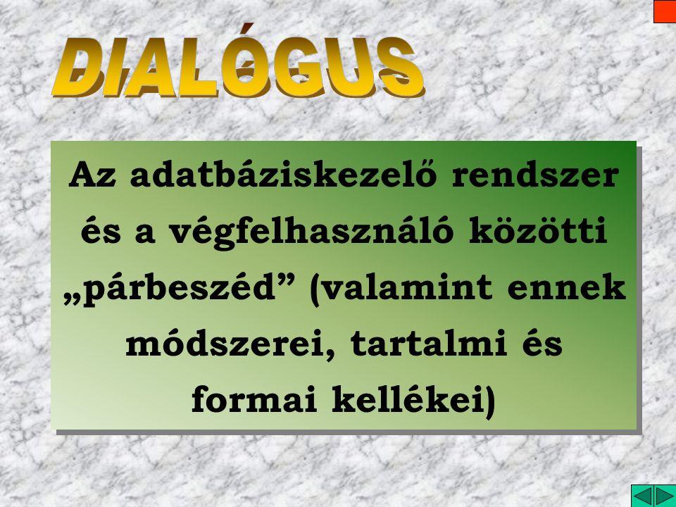 """DIALÓGUS Az adatbáziskezelő rendszer és a végfelhasználó közötti """"párbeszéd (valamint ennek módszerei, tartalmi és formai kellékei)"""