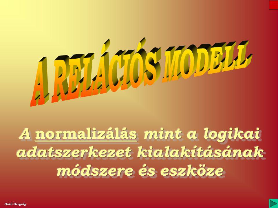 A RELÁCIÓS MODELL A normalizálás mint a logikai adatszerkezet kialakításának módszere és eszköze.