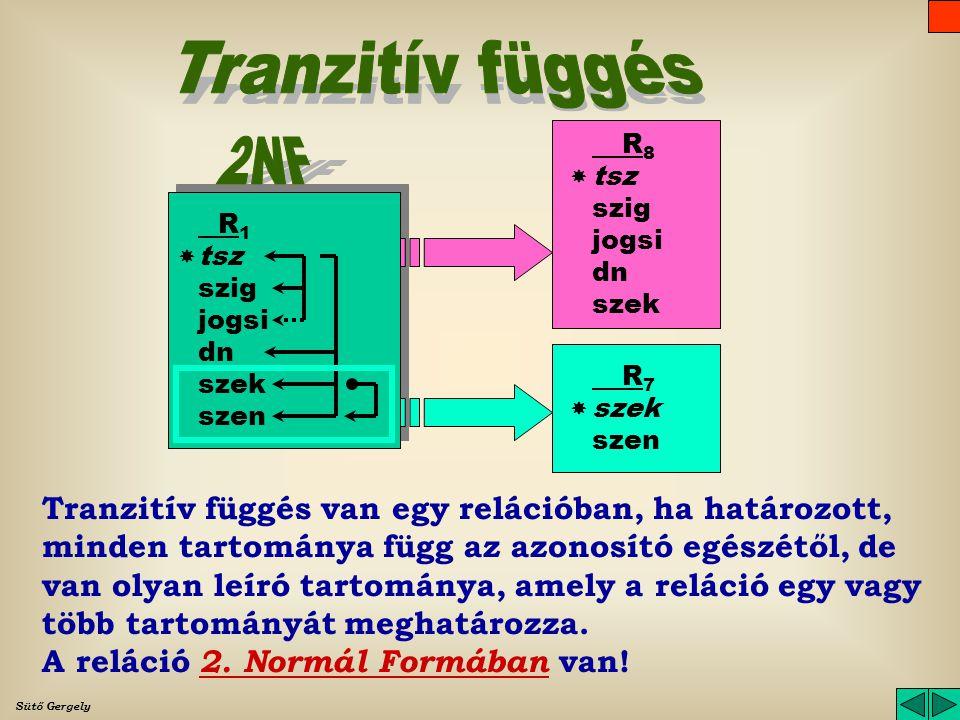 Tranzitív függés R8. tsz. szig. jogsi. dn. szek. 2NF.  R1. tsz. szig. jogsi. dn. szek.