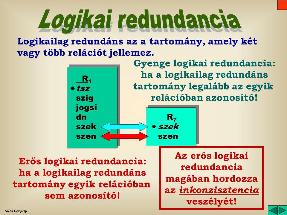 Logikai redundancia Logikailag redundáns az a tartomány, amely két vagy több relációt jellemez. Gyenge logikai redundancia: