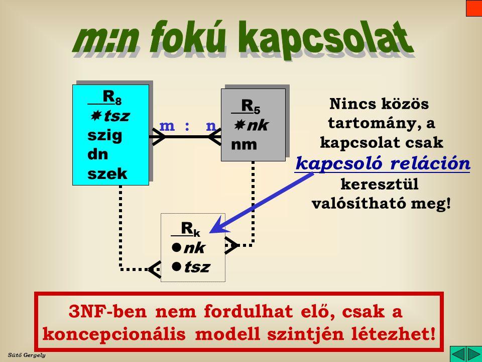 m:n fokú kapcsolat R8. tsz. szig. dn. szek. Nincs közös tartomány, a kapcsolat csak kapcsoló reláción keresztül valósítható meg!