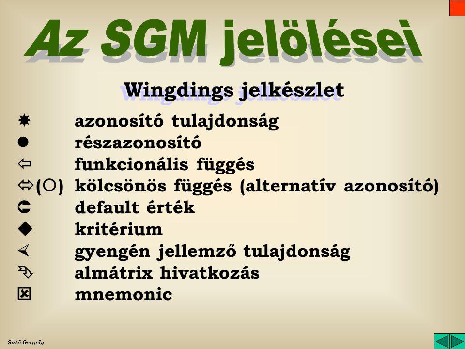 Az SGM jelölései Wingdings jelkészlet  azonosító tulajdonság