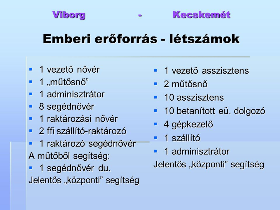 Viborg - Kecskemét Emberi erőforrás - létszámok