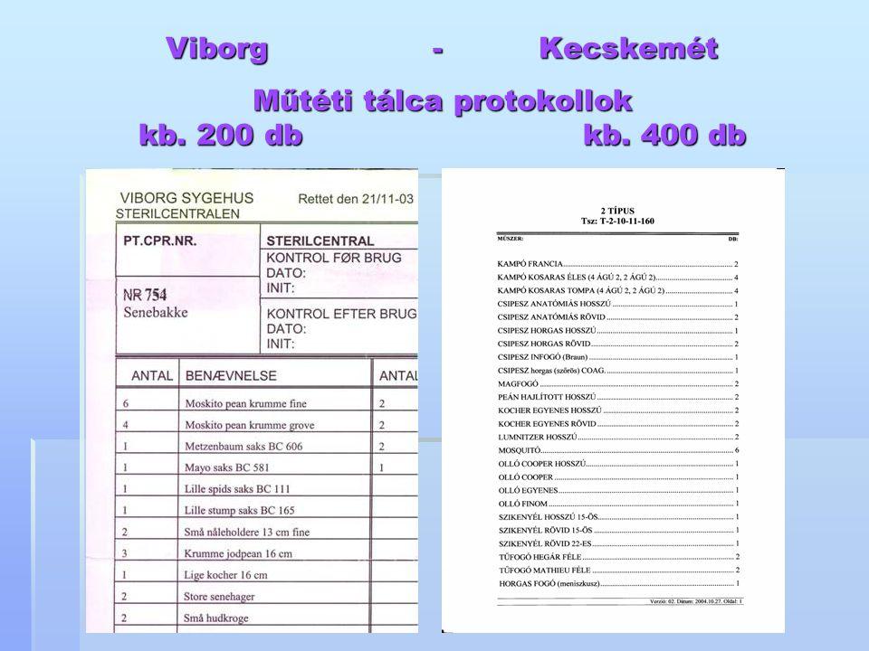 Viborg - Kecskemét Műtéti tálca protokollok kb. 200 db kb. 400 db