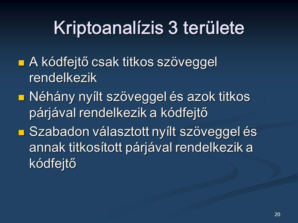 Kriptoanalízis 3 területe
