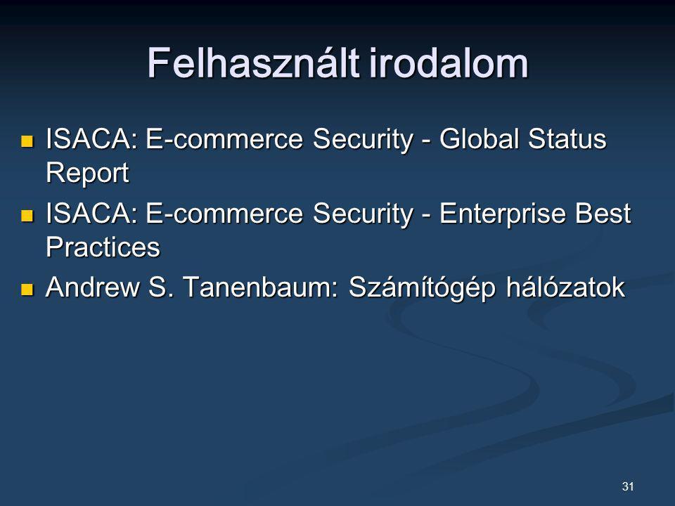 Felhasznált irodalom ISACA: E-commerce Security - Global Status Report