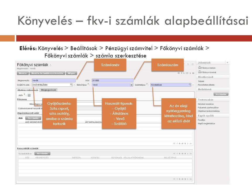 Könyvelés – fkv-i számlák alapbeállításai