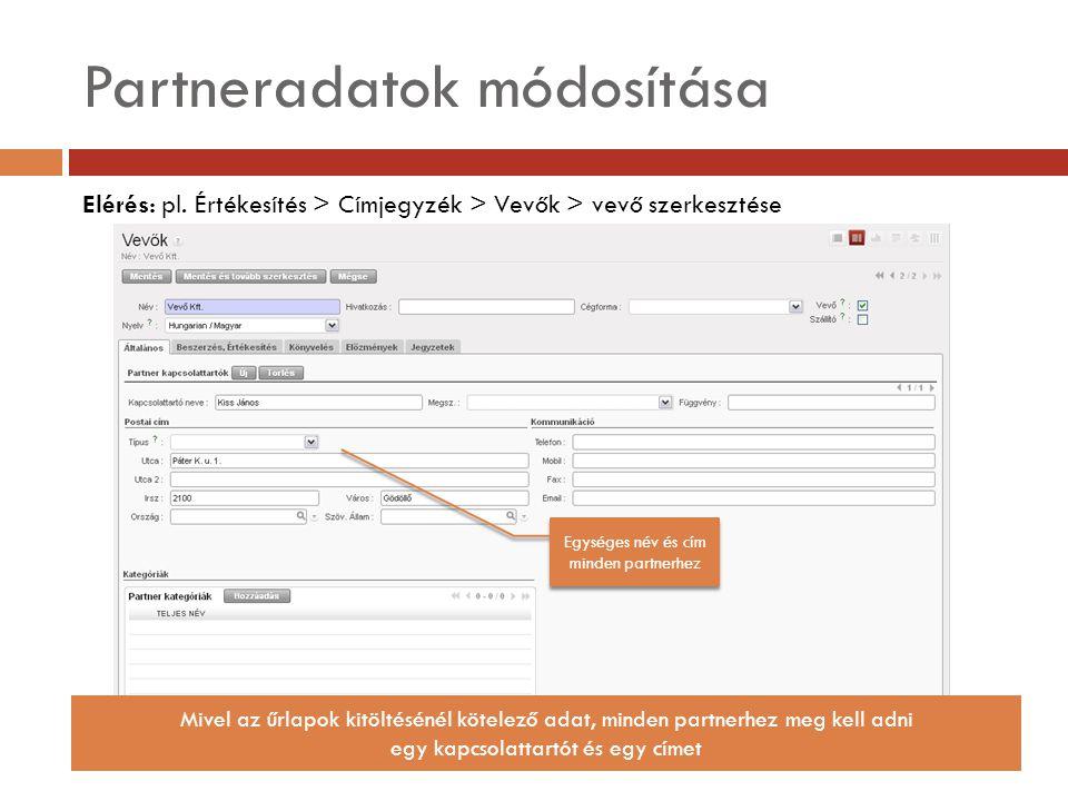 Partneradatok módosítása